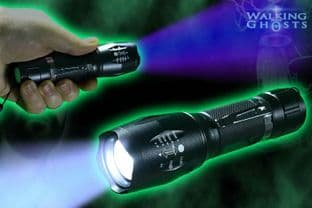 Power Zoom LED UV & White Flashlight Ultraviolet Torch, Ghost Hunt Paranormal